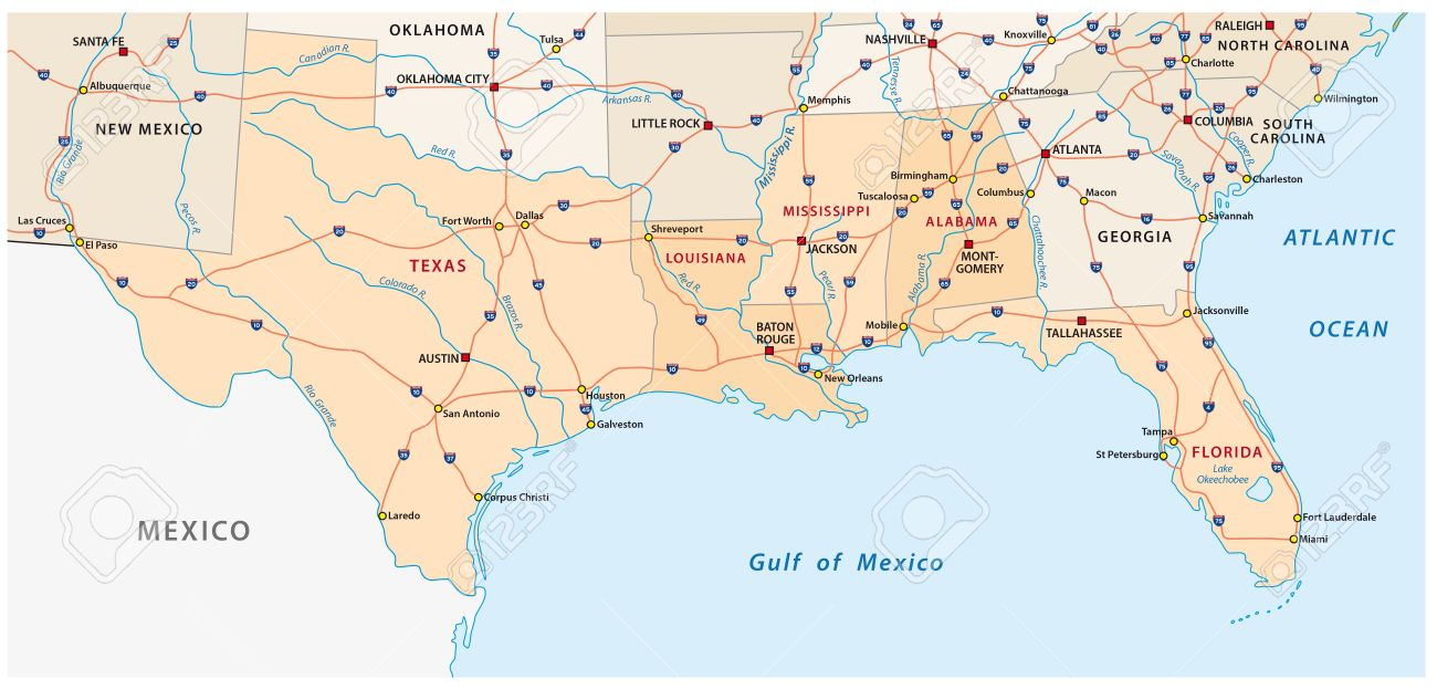 Map Of The Five US States On The Gulf Of Mexico Royalty Free - Us and mexico map