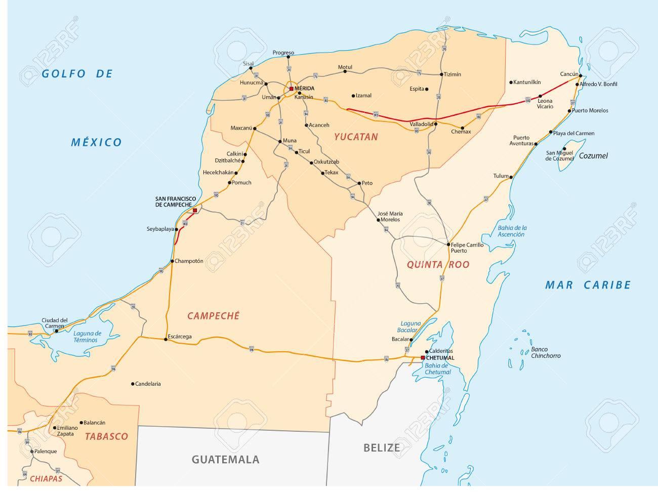 yucatan carte géographique