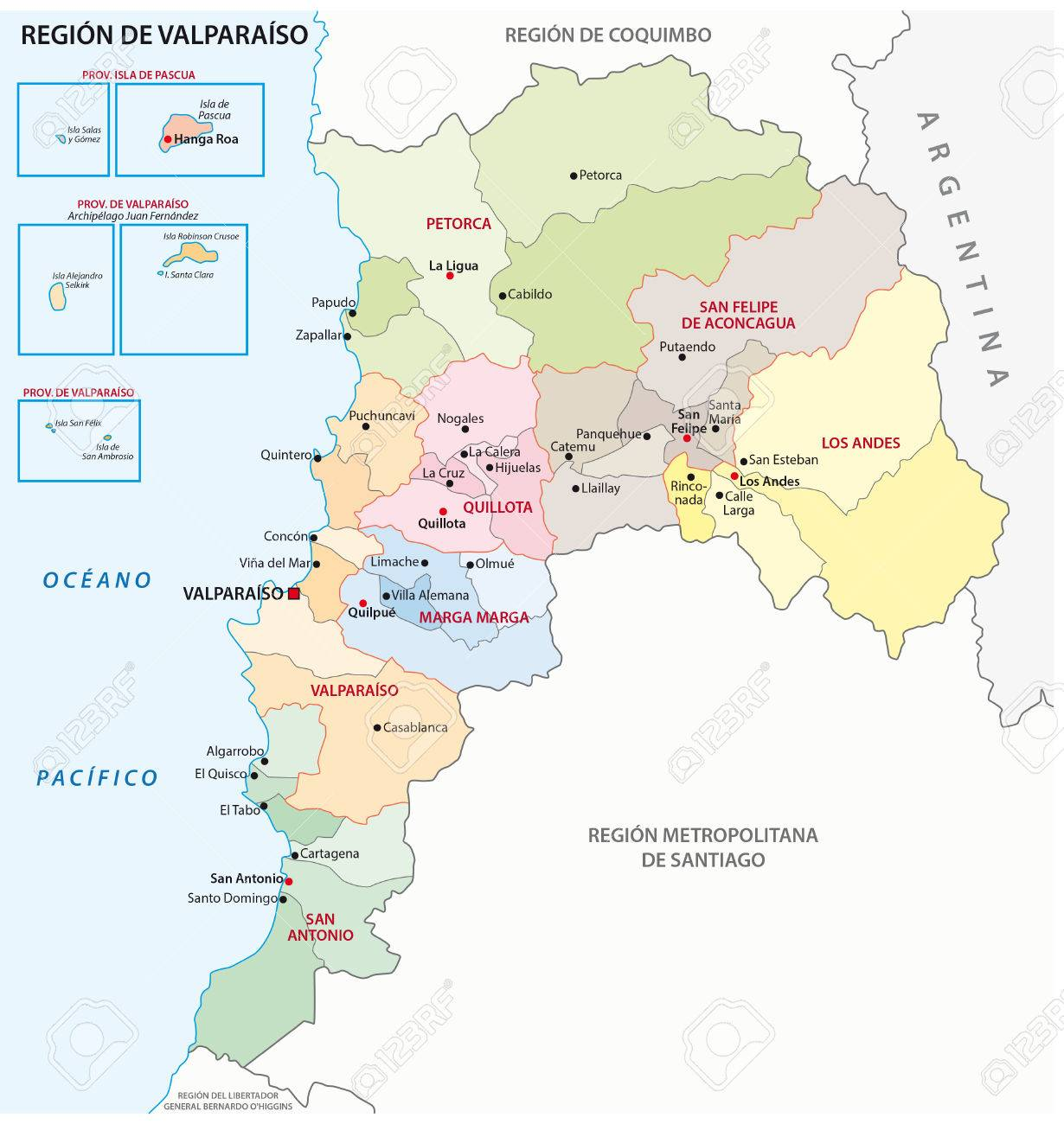 Valparaso Chile Administrative Region Map Royalty Free Cliparts - Chile regions map