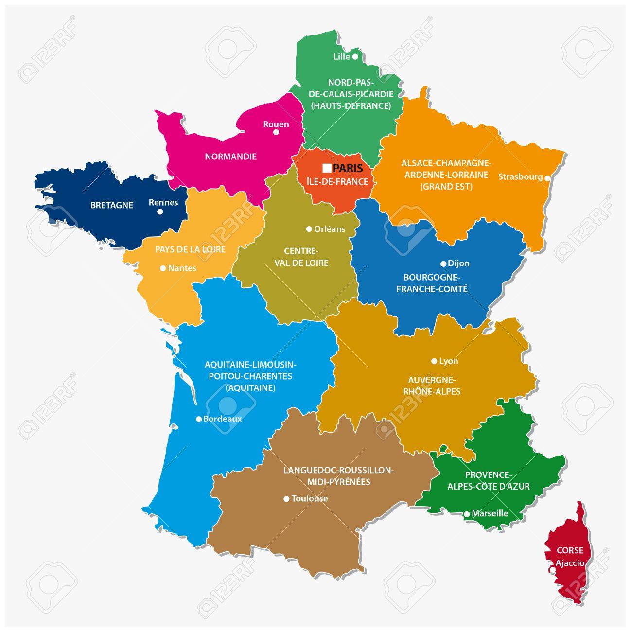 Les Nouvelles Regions De France Depuis La Carte Clip Art Libres De Droits Vecteurs Et Illustration Image 54114572