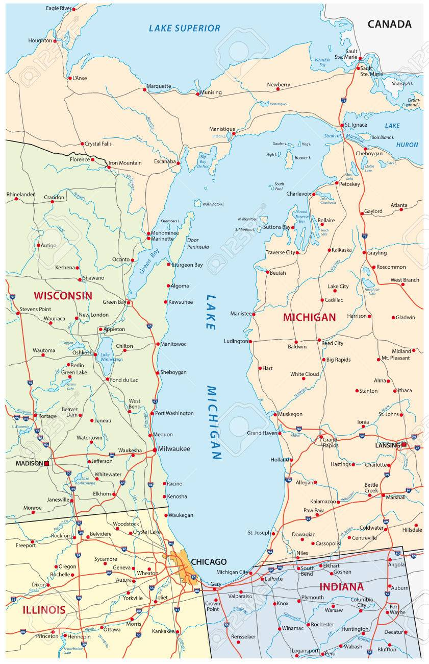 Lake Michigan Map Royalty Free Cliparts Vectors And Stock