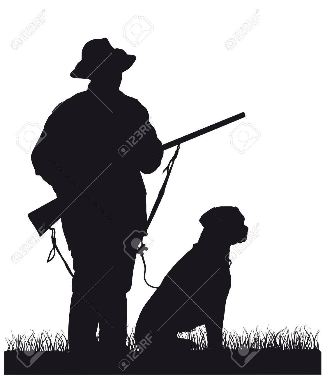 hunter with dog, silhouette - 54115755