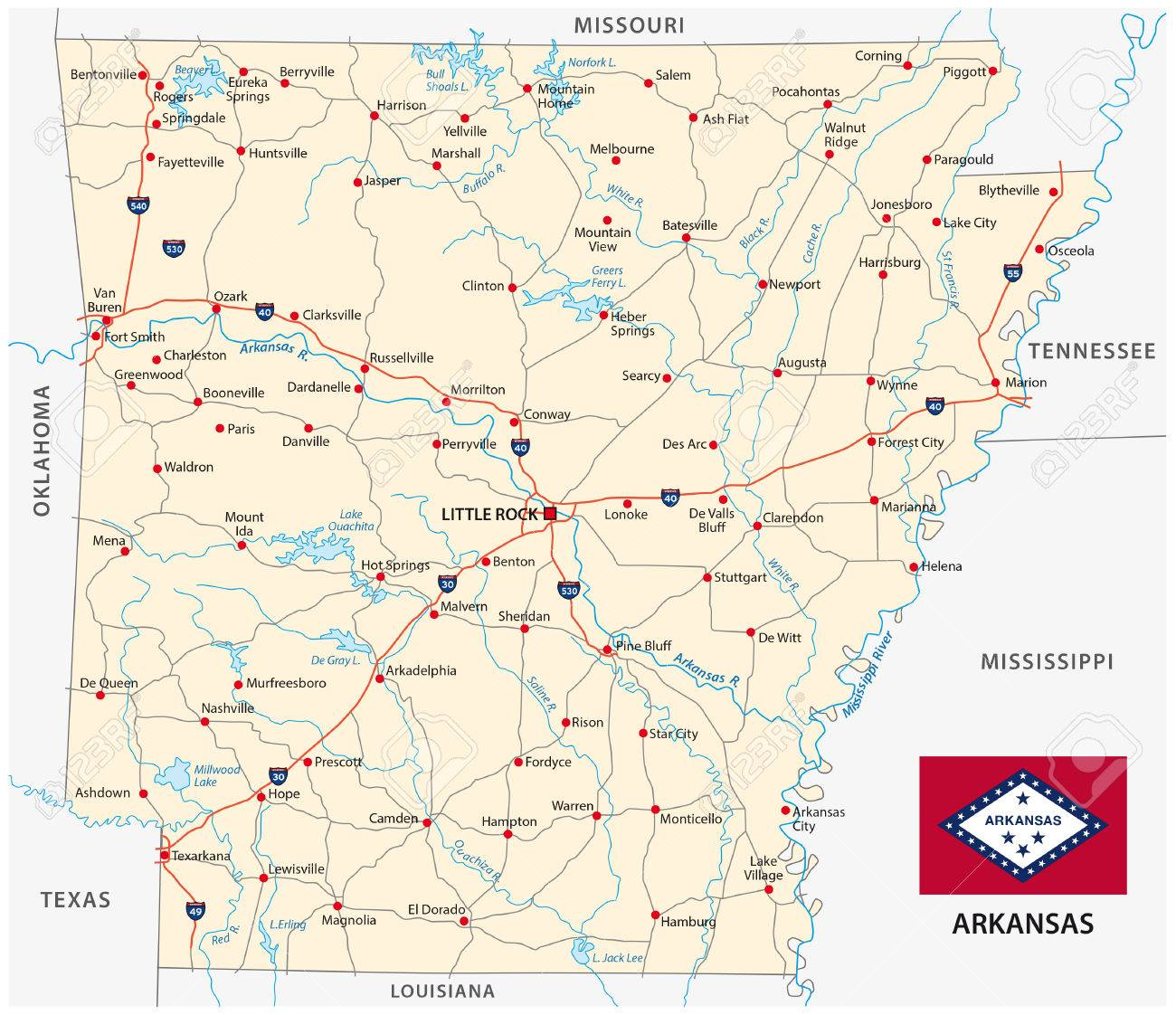 Arkansas Road Map With Flag Royalty Free Cliparts Vectors And