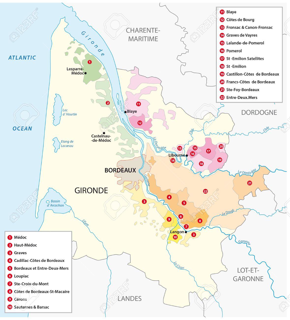 Karte Der Franzosisch Weinregion Bordeaux Lizenzfrei Nutzbare