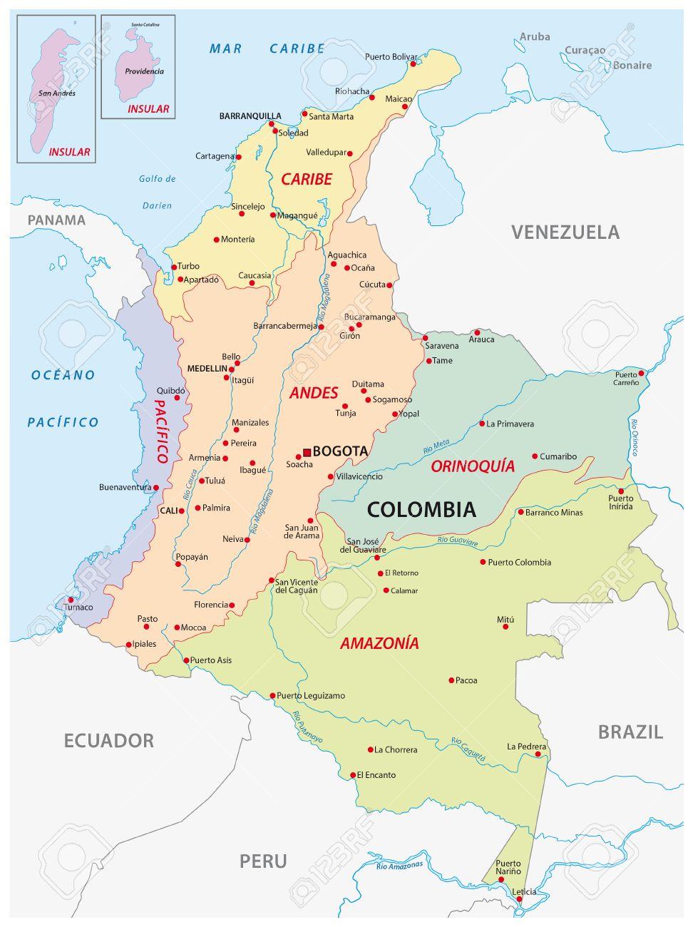 karte kolumbien Karte Der Natürlichen Regionen, Kolumbien Lizenzfrei Nutzbare