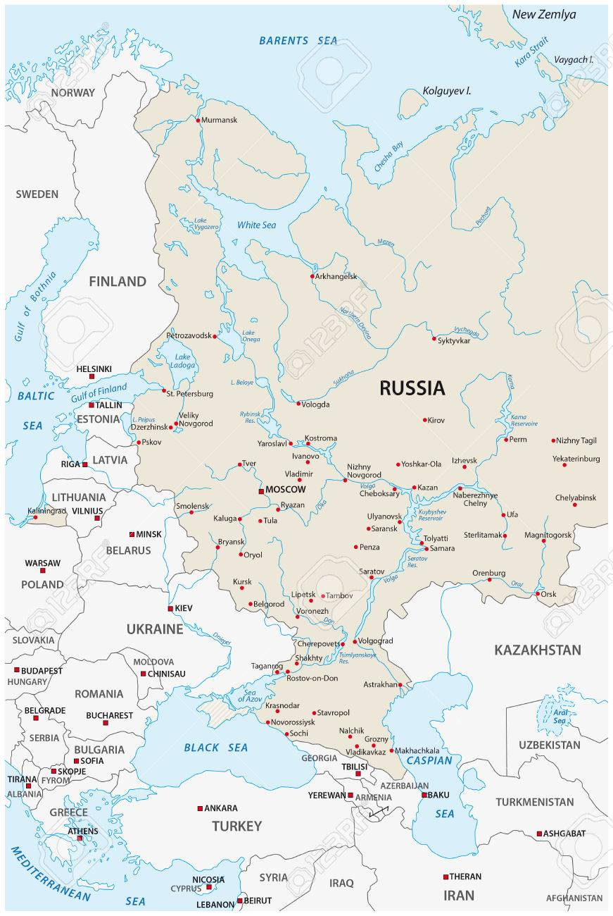 European Russia Map Royalty Free Cliparts Vectors And Stock