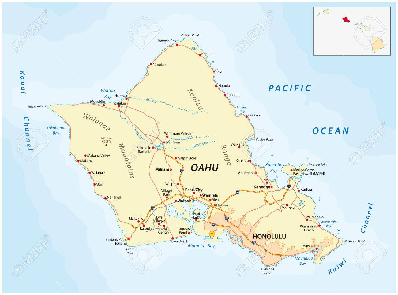 Road Map Of Oahu Oahu Road Map Royalty Free Cliparts, Vectors, And Stock
