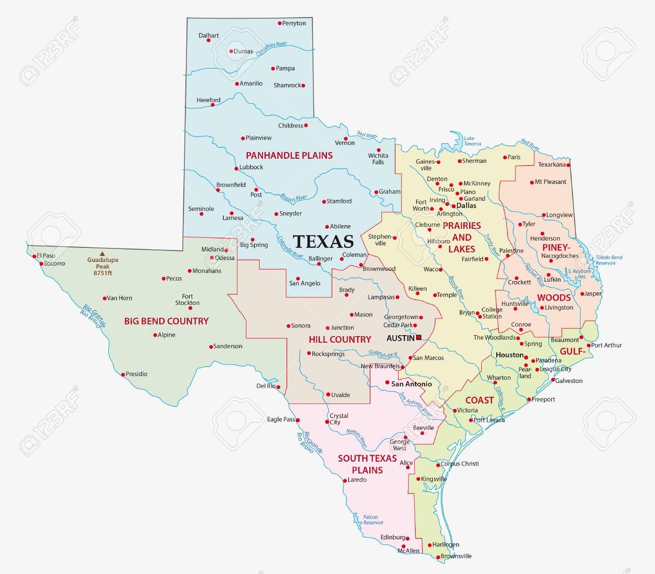 Mapa De Las Siete Regiones Del Estado De Texas Ilustraciones - Mapa de texas