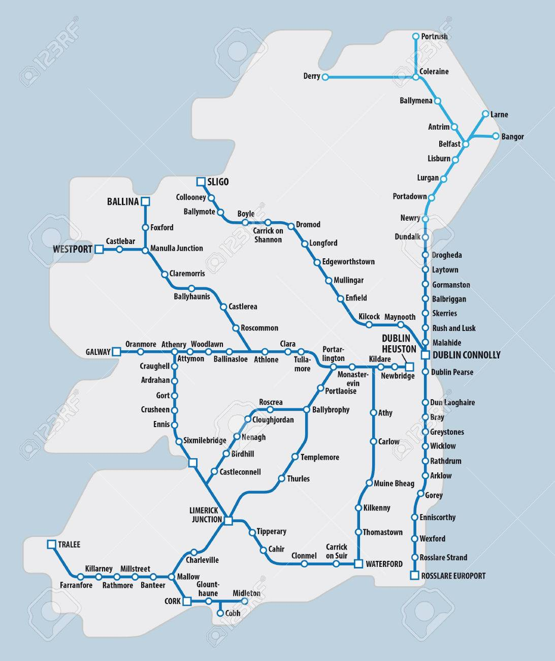 Map Of Ireland With Schematic Railway Route Network Royalty Free
