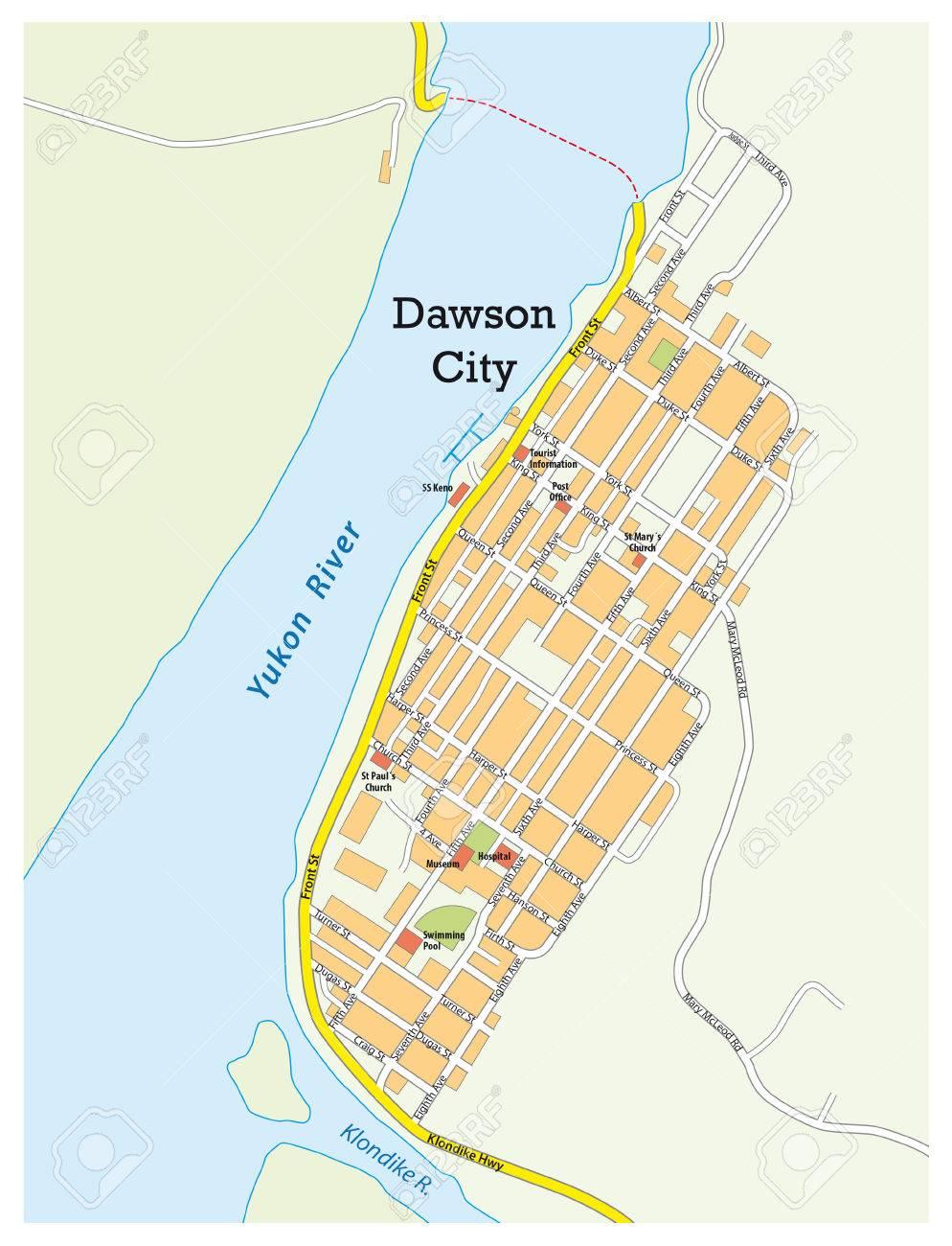 City ??map Of Dawson City Yukon Territory, Canada Royalty Free