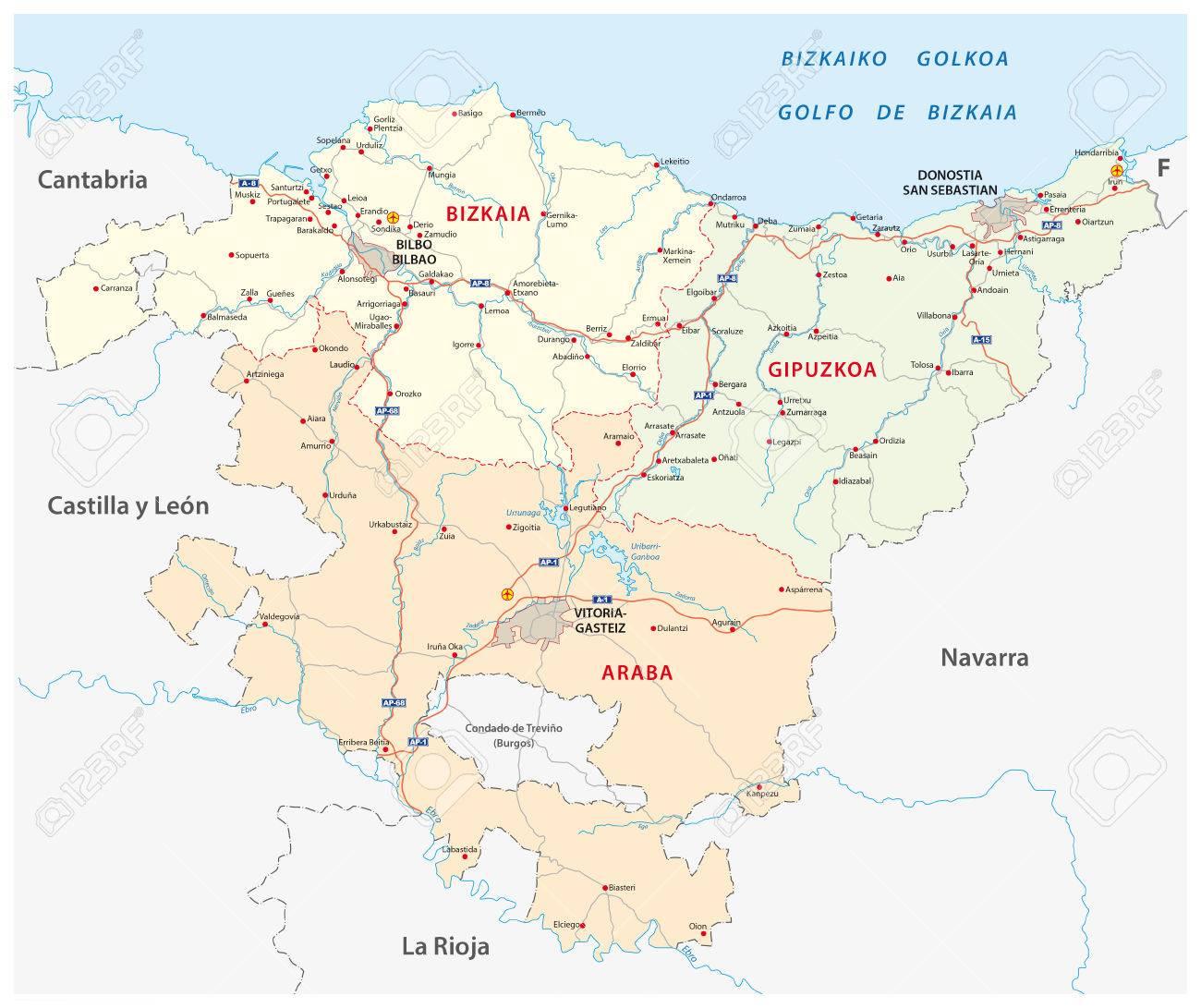 baskenland karte Straße Und Verwaltungs Karte Von Baskenland, Spanien Lizenzfrei