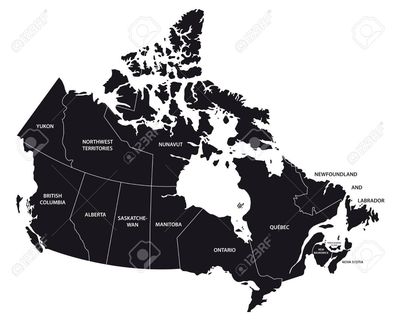 Canada Administrative Map In Black And White Royalty Free Cliparts