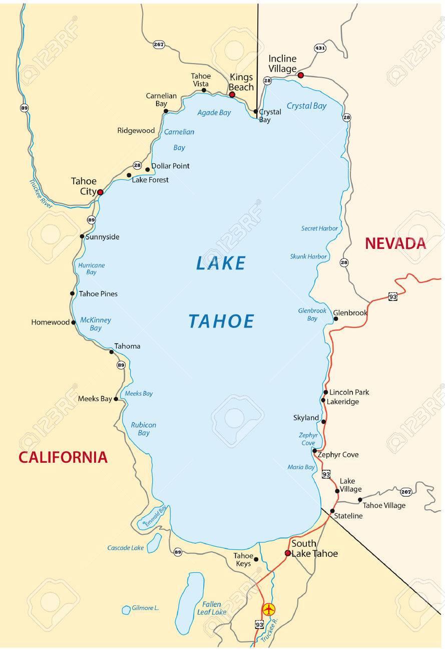 Lake Tahoe Map Royalty Free Cliparts, Vectors, And Stock ...