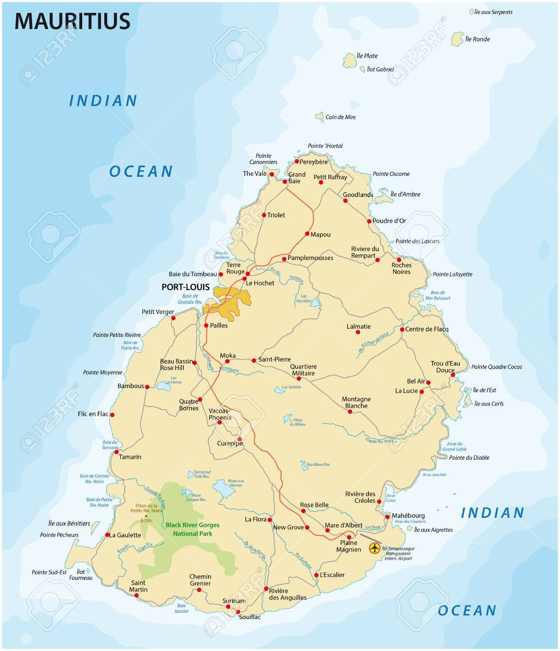 Road Map Of The State Iceland Mauritius In The Indian Ocean Royalty