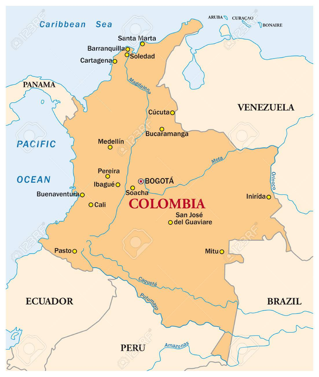 Simple Vector Map Of The State Colombia Royalty Free Cliparts