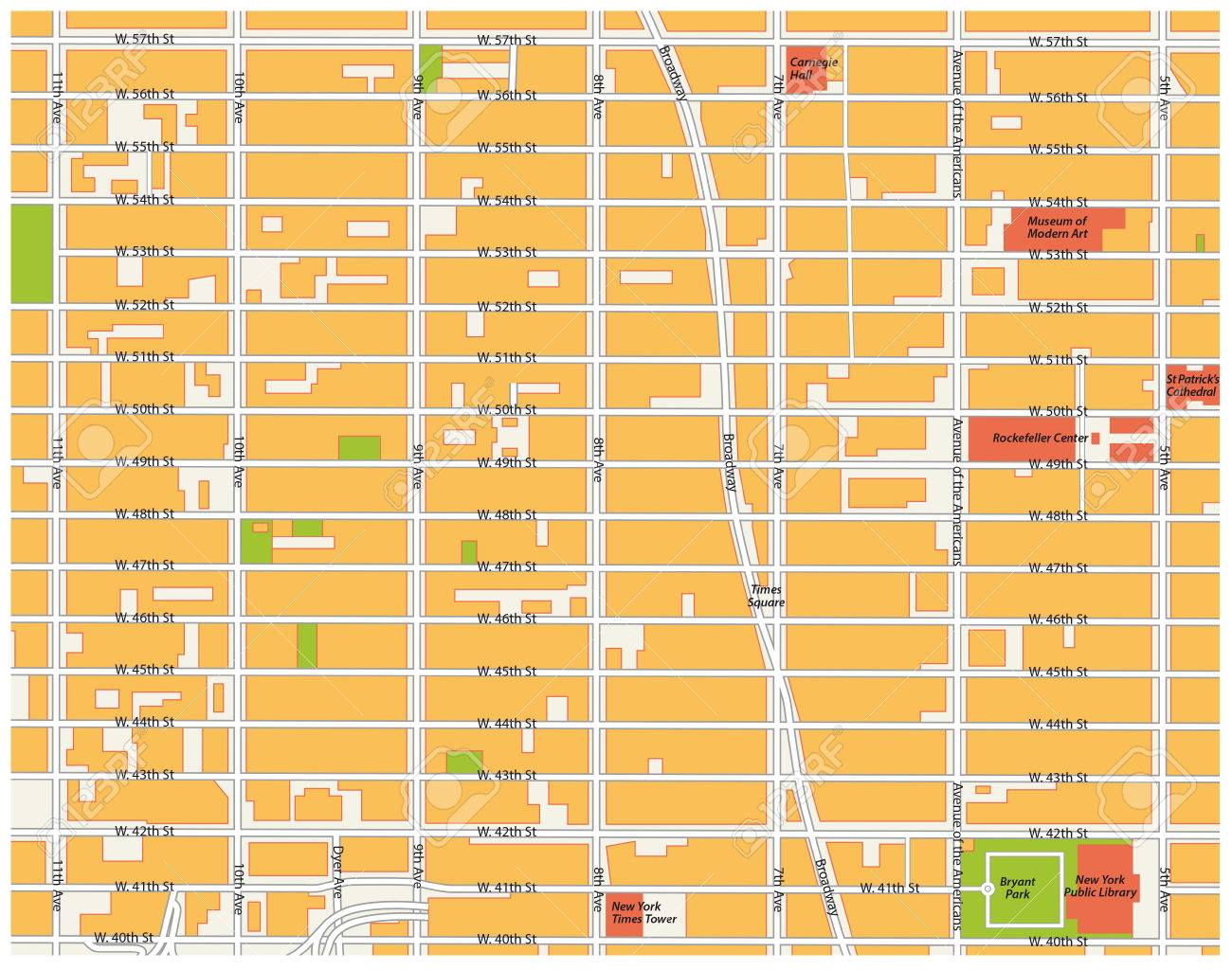 Map Of Midtown New York.Theater District Map Midtown Manhattan New York City Royalty Free