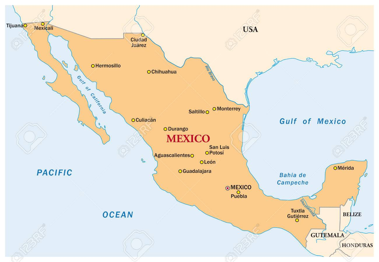 simple vector map of the state mexico stock vector 55617566