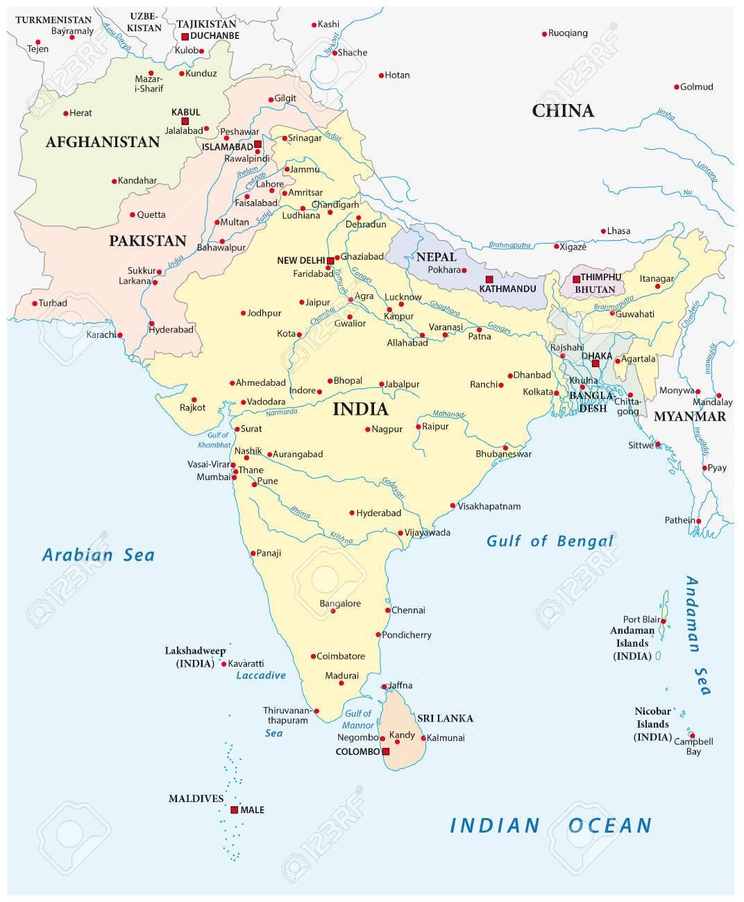 Carte Asie Avec Villes.Carte Detaillee De Vecteur De L Asie Du Sud Avec Les Plus Grandes Villes
