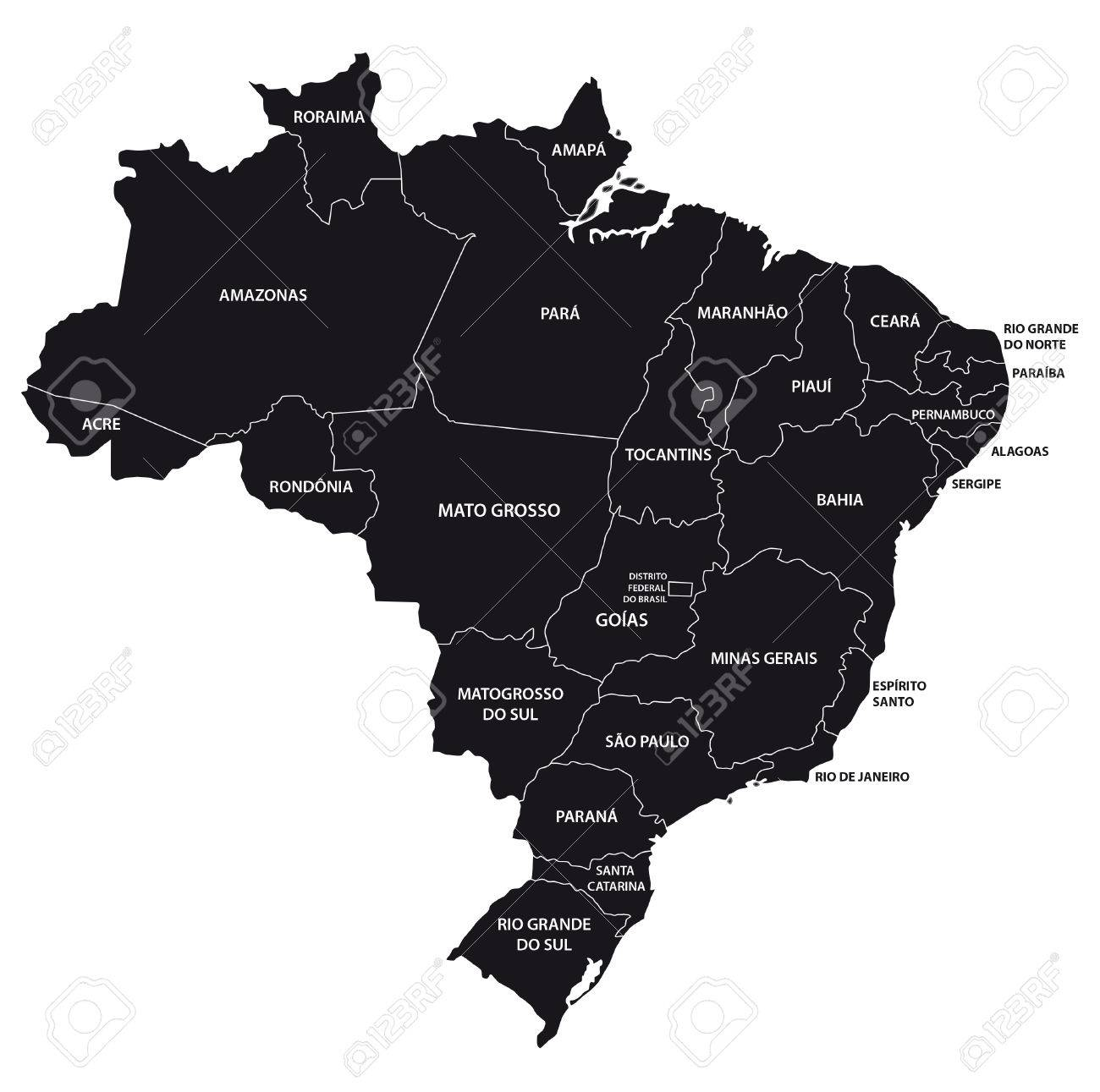 Brazil Administrative Map In Black And White Royalty Free Cliparts