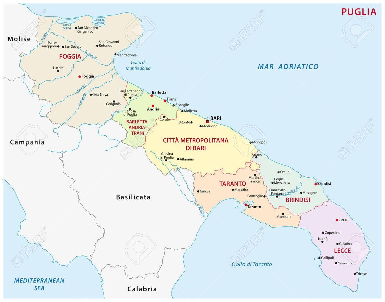 Apulia Administrative Map Italy Royalty Free Cliparts Vectors And