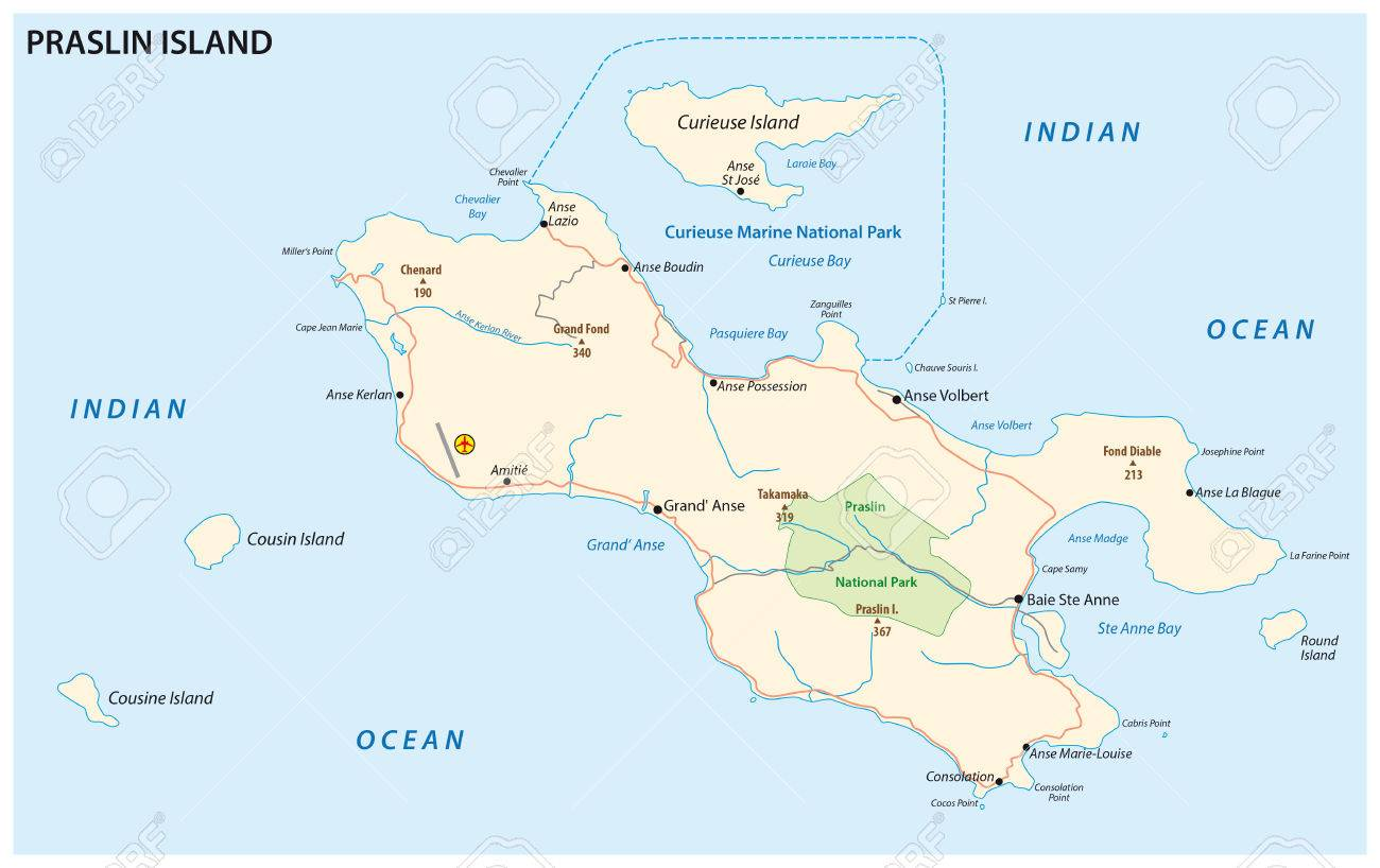 Detailed Road Map Of The Seychelles Iseland Praslin Royalty Free