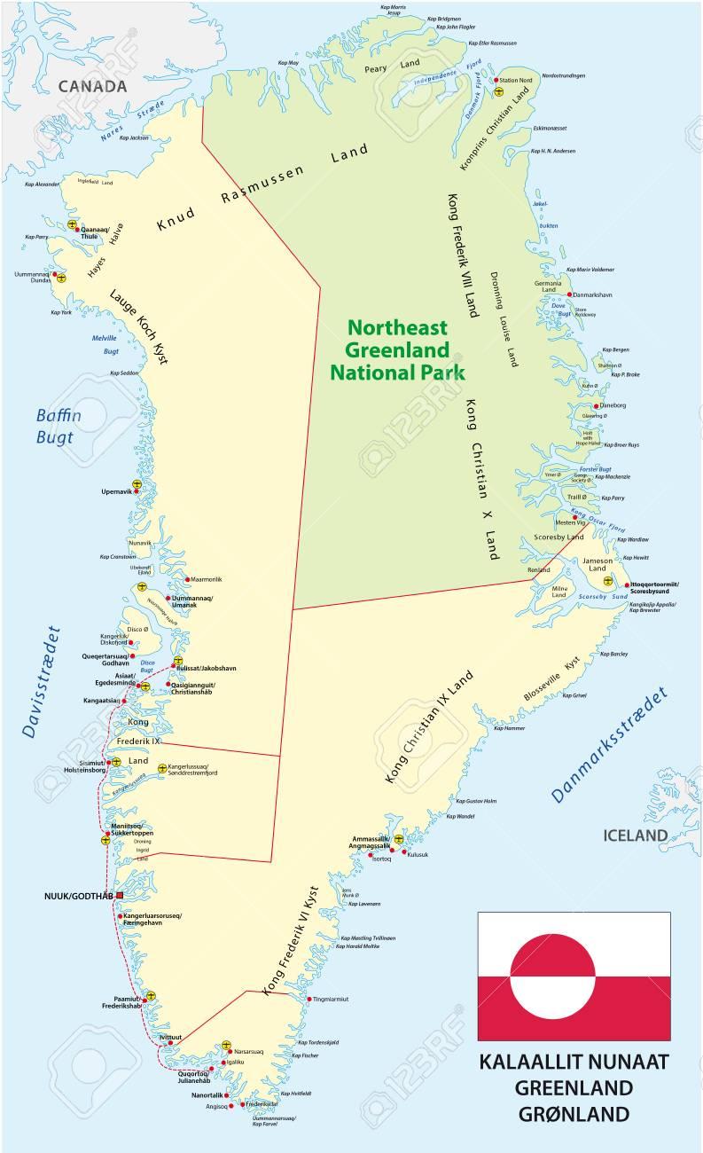 Karte Mit Flagge Der Staat Gronland Lizenzfrei Nutzbare