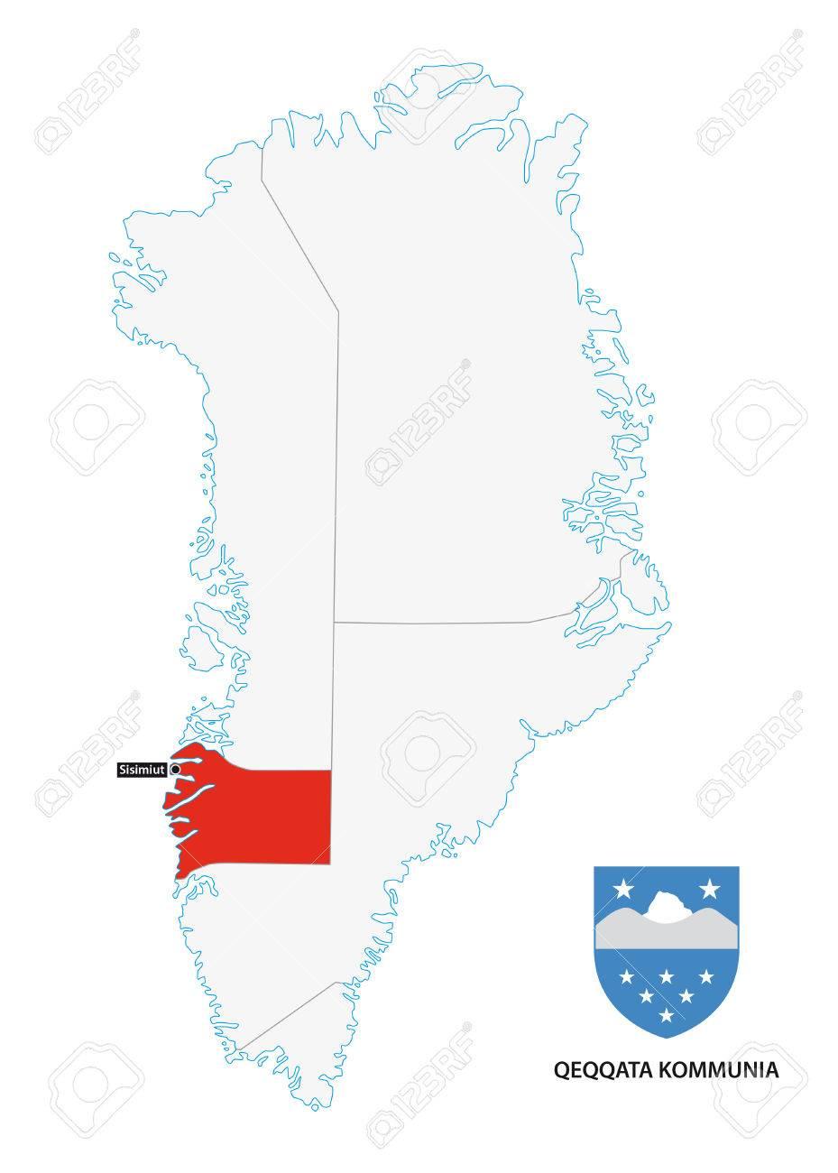 Administrative Map Of Greenland Qeqqata Municipality With Coat
