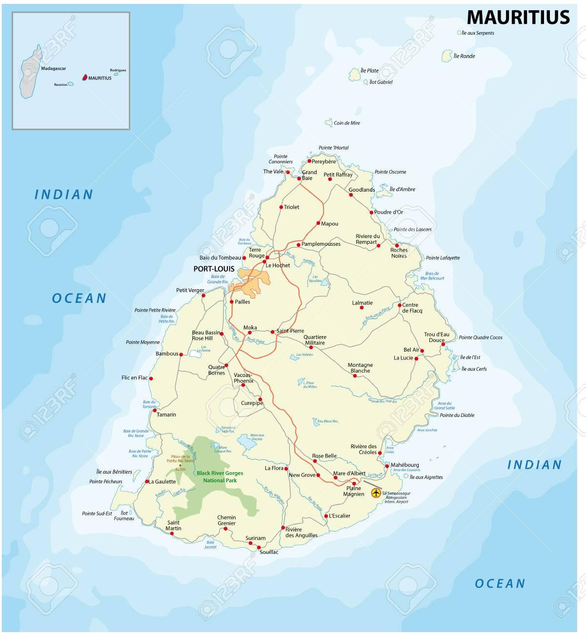 Carte Detaillee De L Ile Maurice Avec Les Principales Villes Et