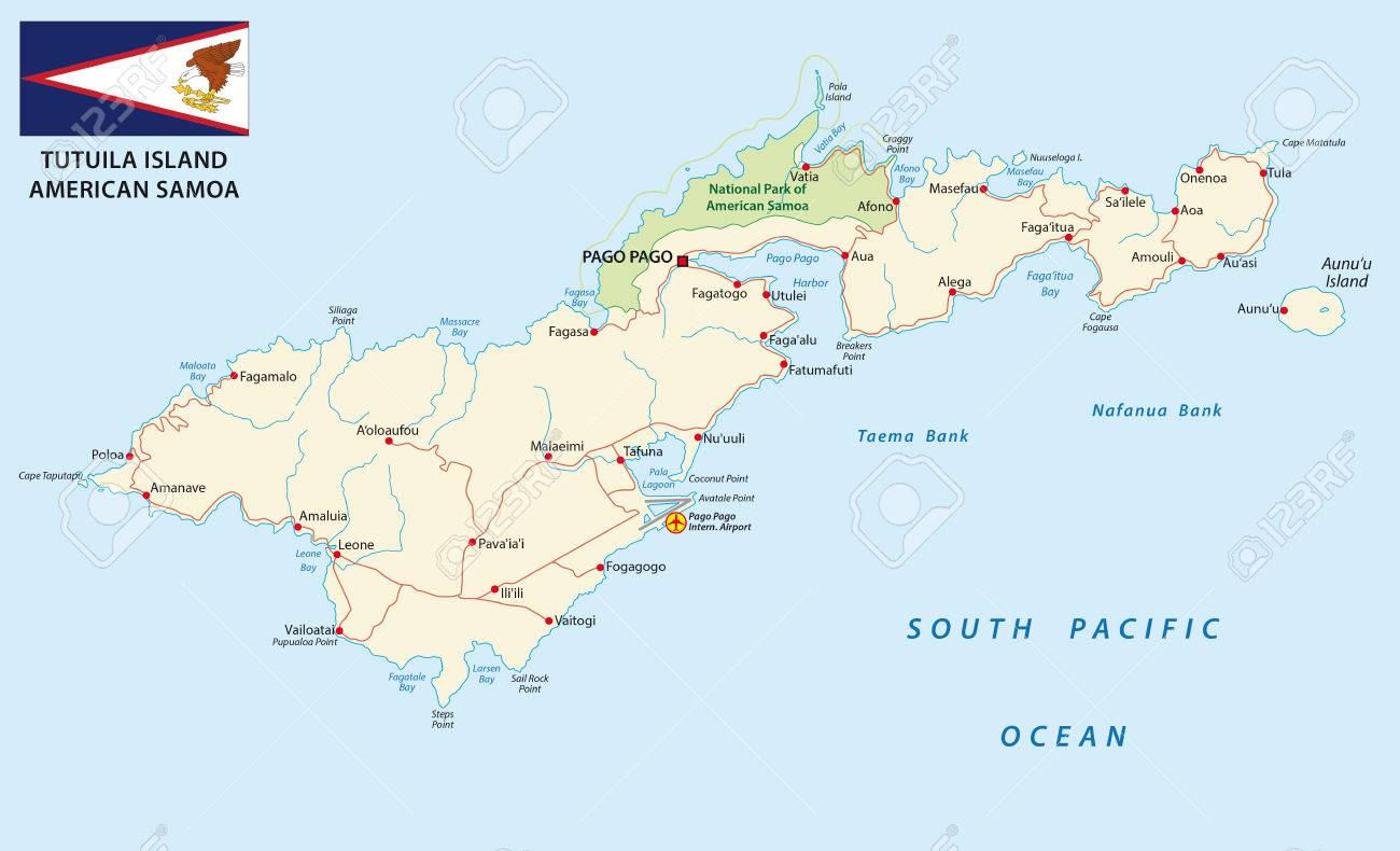 Detailet American Samoa Road Map With Flag Royalty Free Cliparts - Map of american samoa