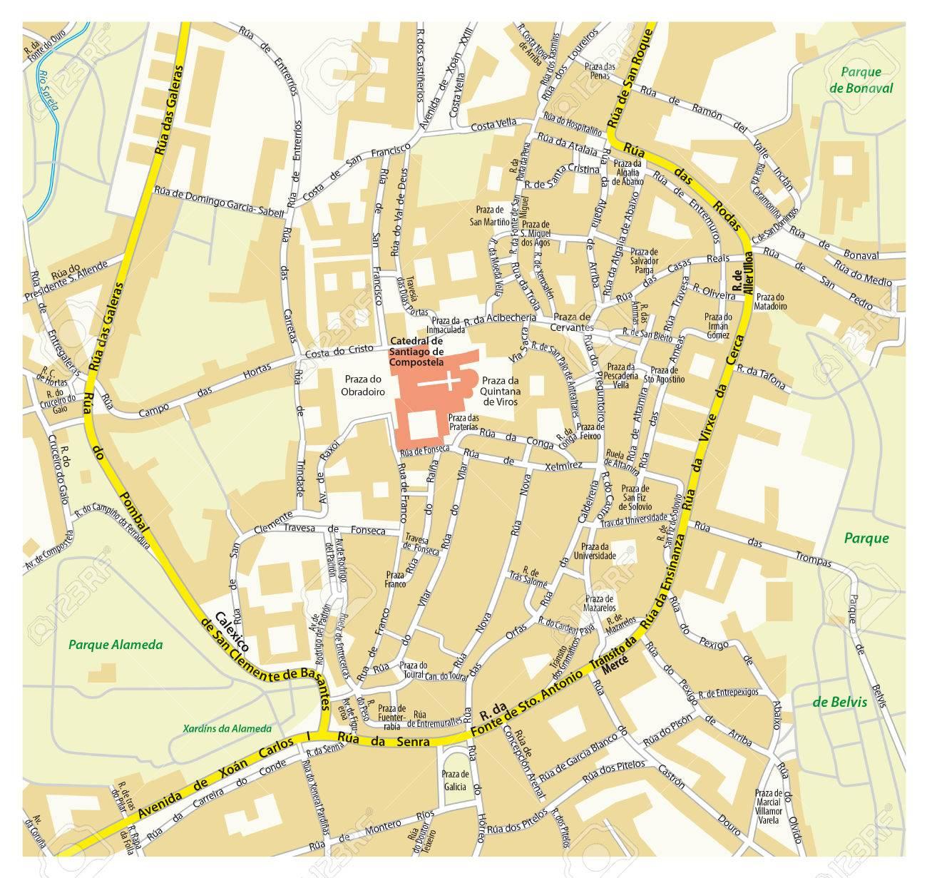 Downtown Map The Galician Capital Of Santiago De Compostela