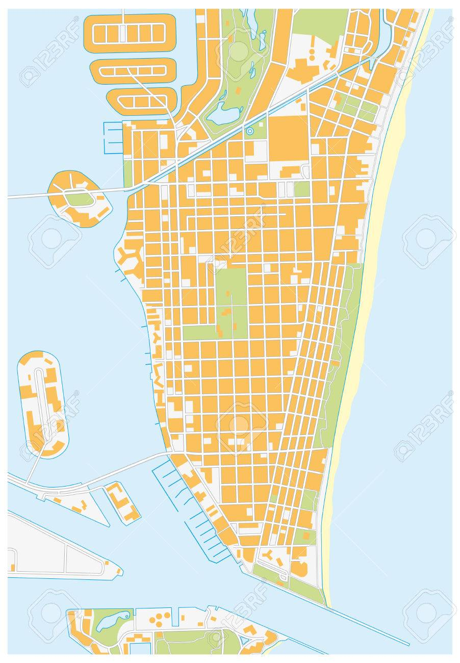Miami Beach Detailed Vector Street Map Florida Royalty Free