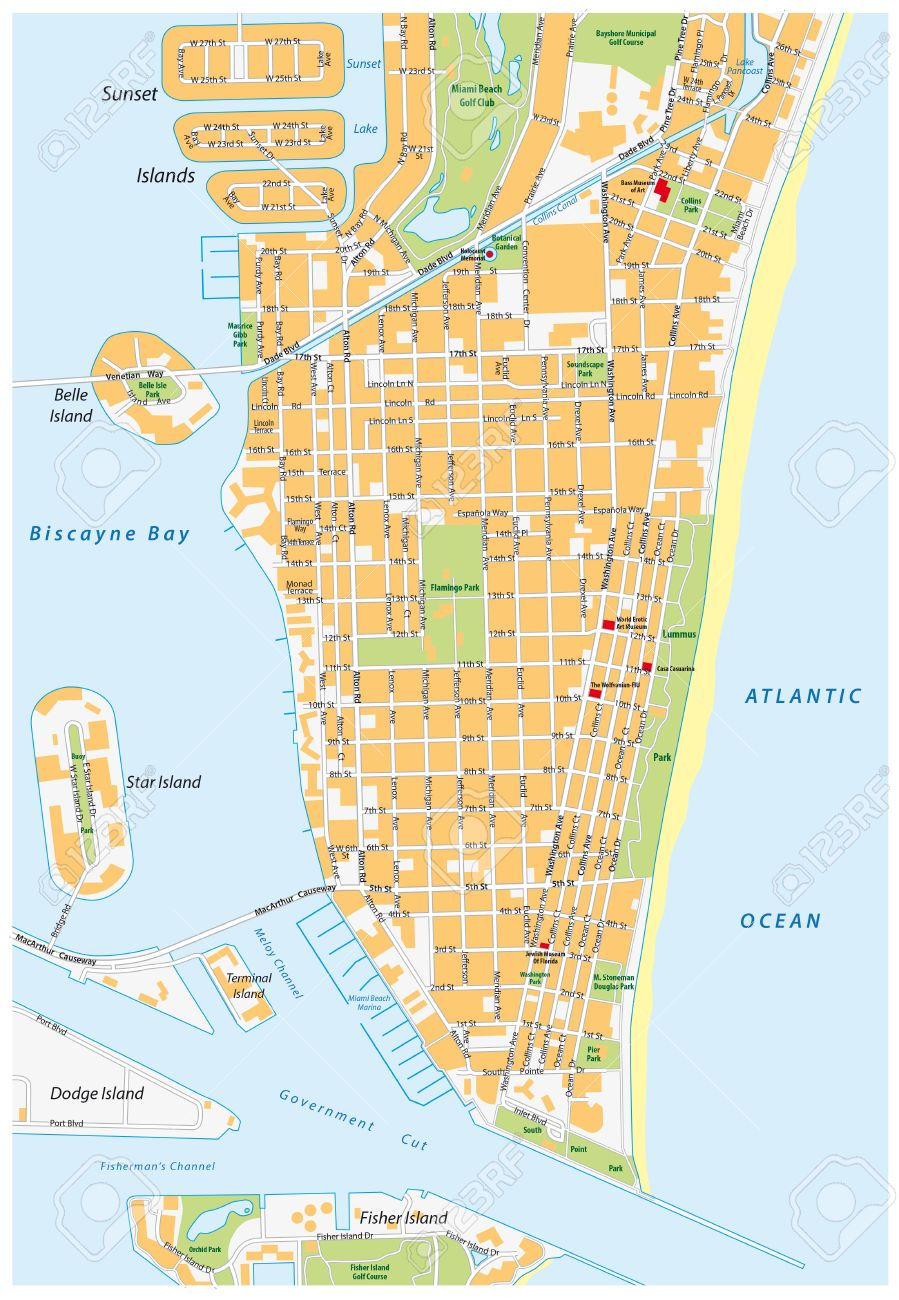 Miami Beach Detailed Vector Street Map With Names Florida Royalty