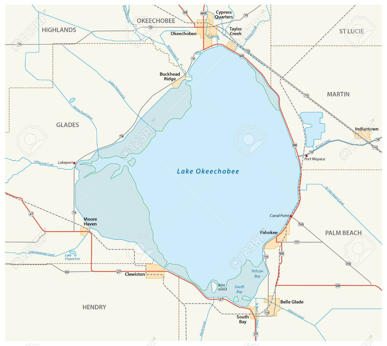 Vector Road Map Of Lake Okeechobee In The US State Of Florida - Us map florida