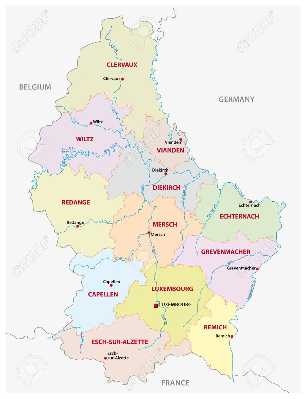 Administrative And Political canton Map Grand Duchy Of Luxembourg