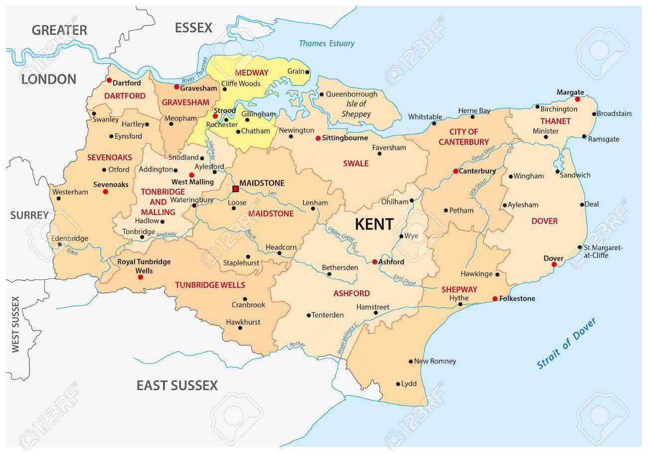 Administrative Map Of The County Kent, England Royalty Free