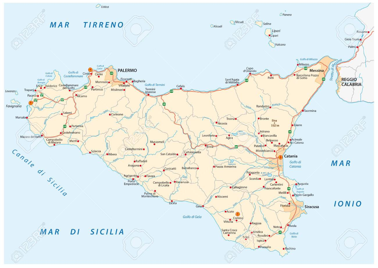 Detailed Road Map Of Iceland Sicily, Italy Royalty Free Cliparts ...