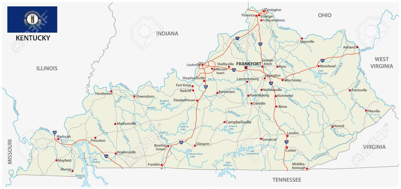 Road Map Of The Us States.Road Map With Flag Of The Us State Kentucky Royalty Free Cliparts