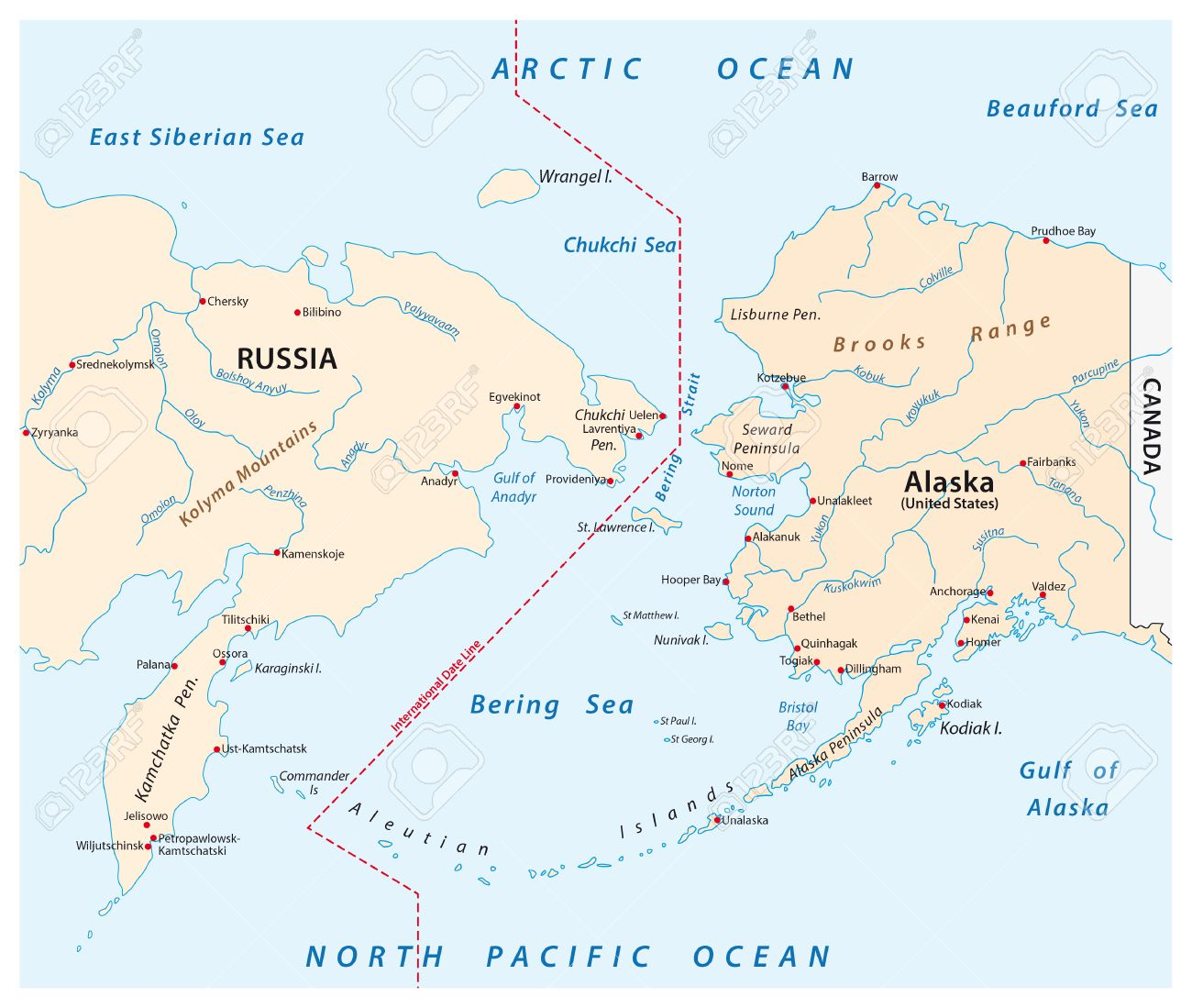 Vector Map Of The Bering Strait Between Russia And Alaska Royalty - Alaska map russia