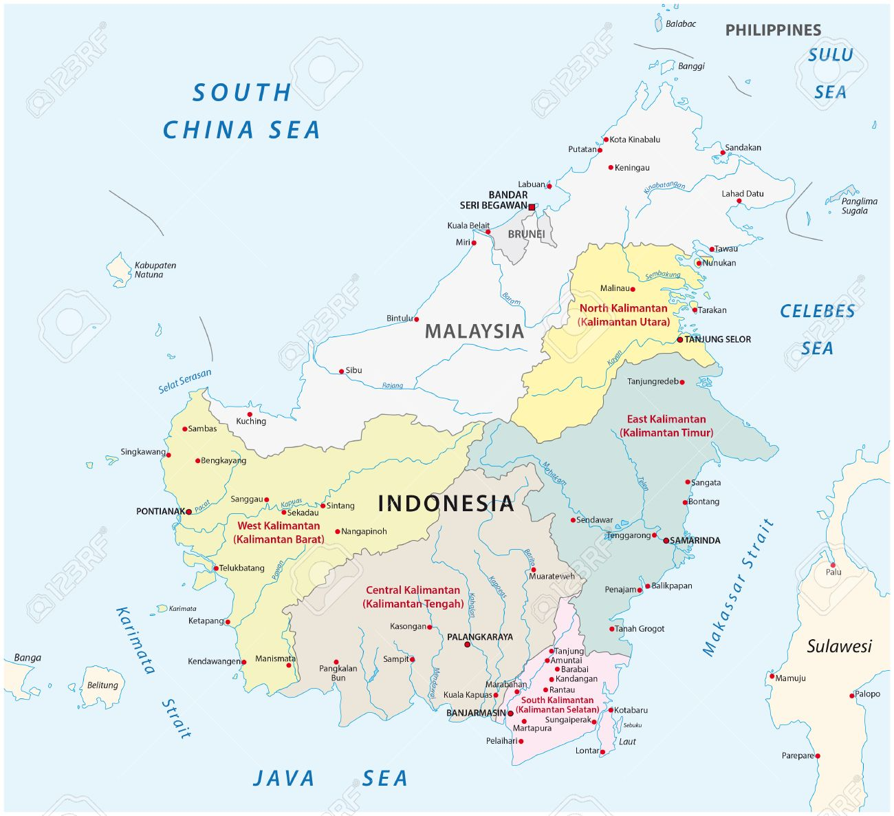 Administrative And Political Vector Map Of Indonesias Districts