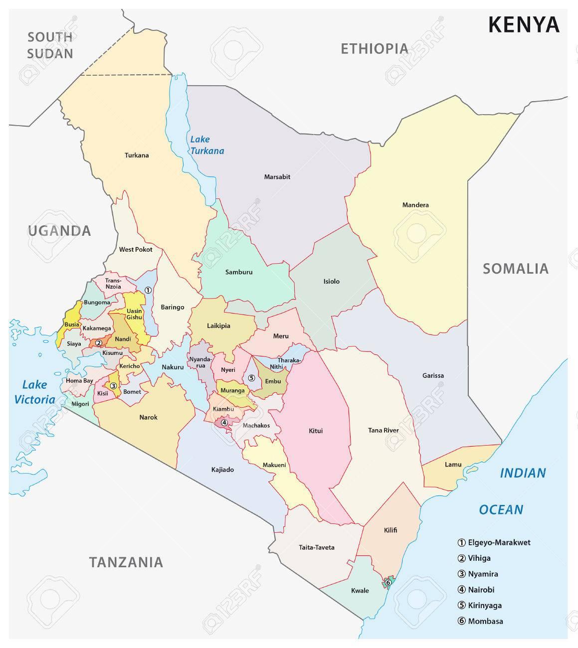 Vector De Mapa Administrativo Y Politico De La Republica De Kenya