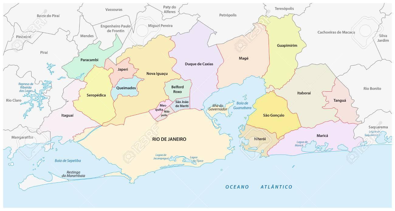 Rio De Janeiro Karte.Administrative And Political Map Of The Greater Rio De Janeiro