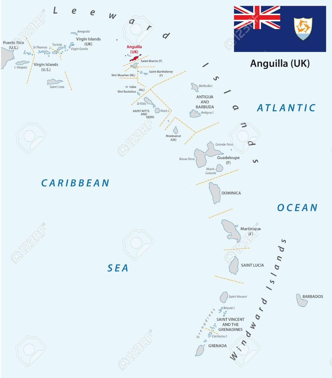 Kleine Antillen Karte.Stock Photo