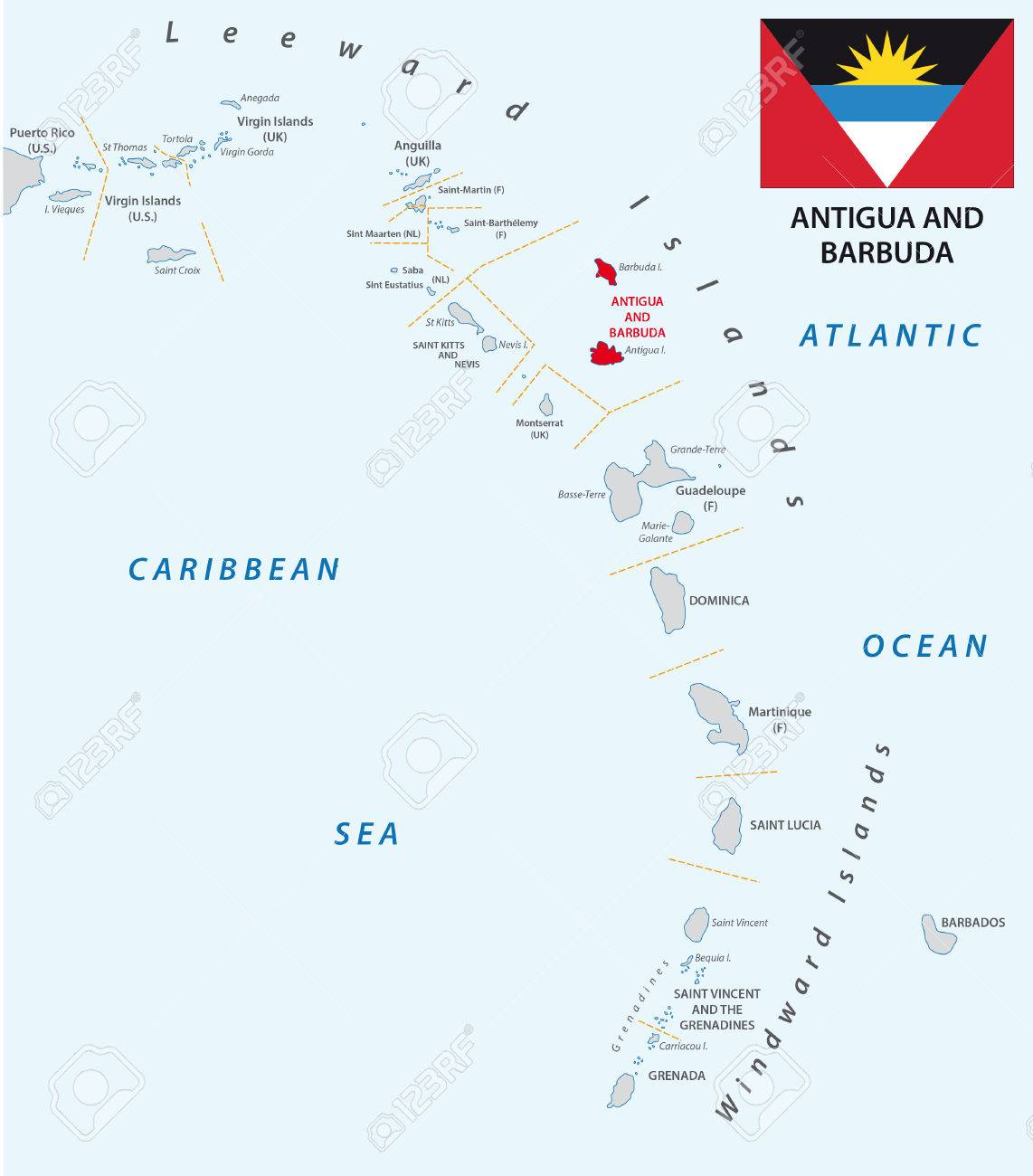 Lesser Antilles Outline Map Antigua And Barbuda With Flag Royalty