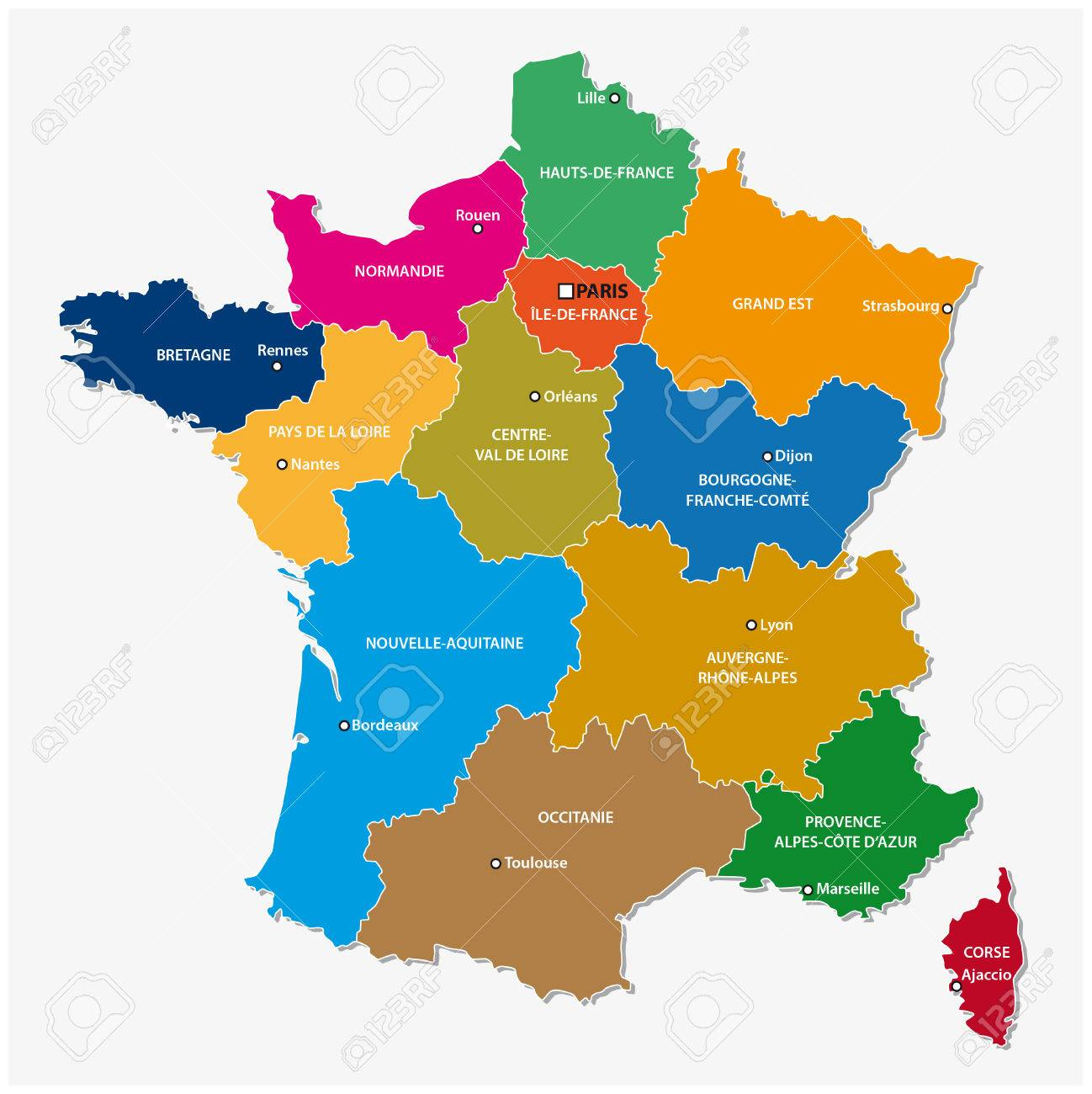 Administrative Map Of The 13 Regions Of France Since 2016 Royalty