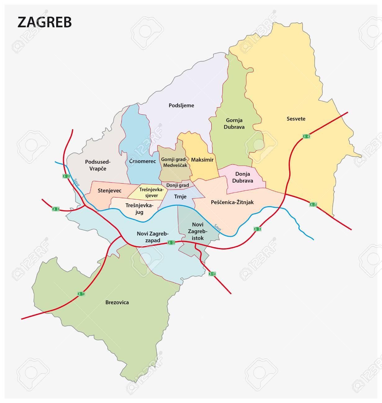 Mapa Division Administrativa De Croacia Zagreb De Capital