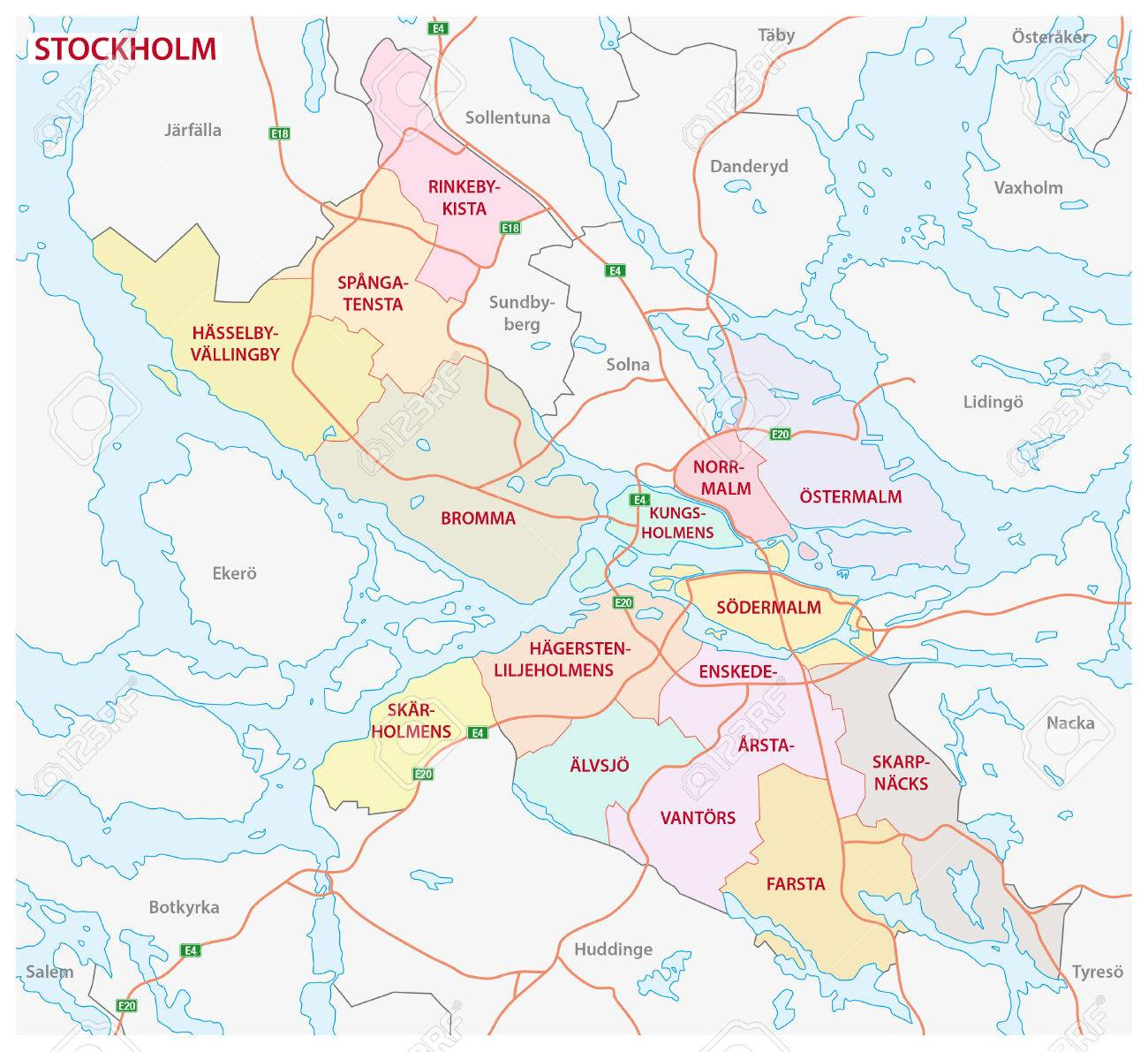 Administrative And Political Map Of The Swedish Capital Stockholm