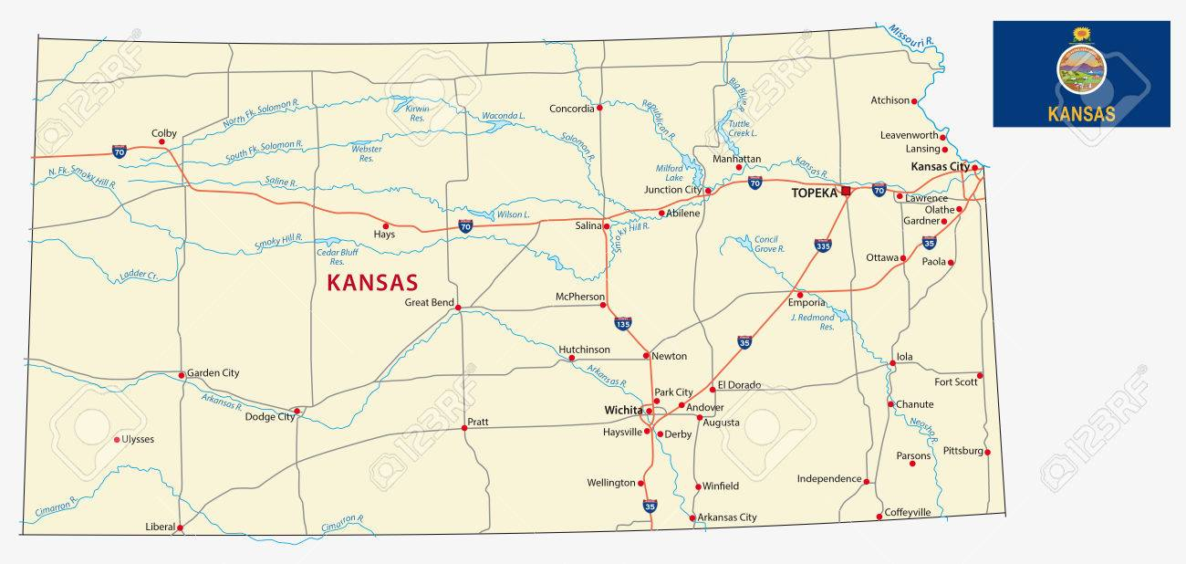 Kansas Road Map With Flag Royalty Free Cliparts Vectors And - Road map of kansas