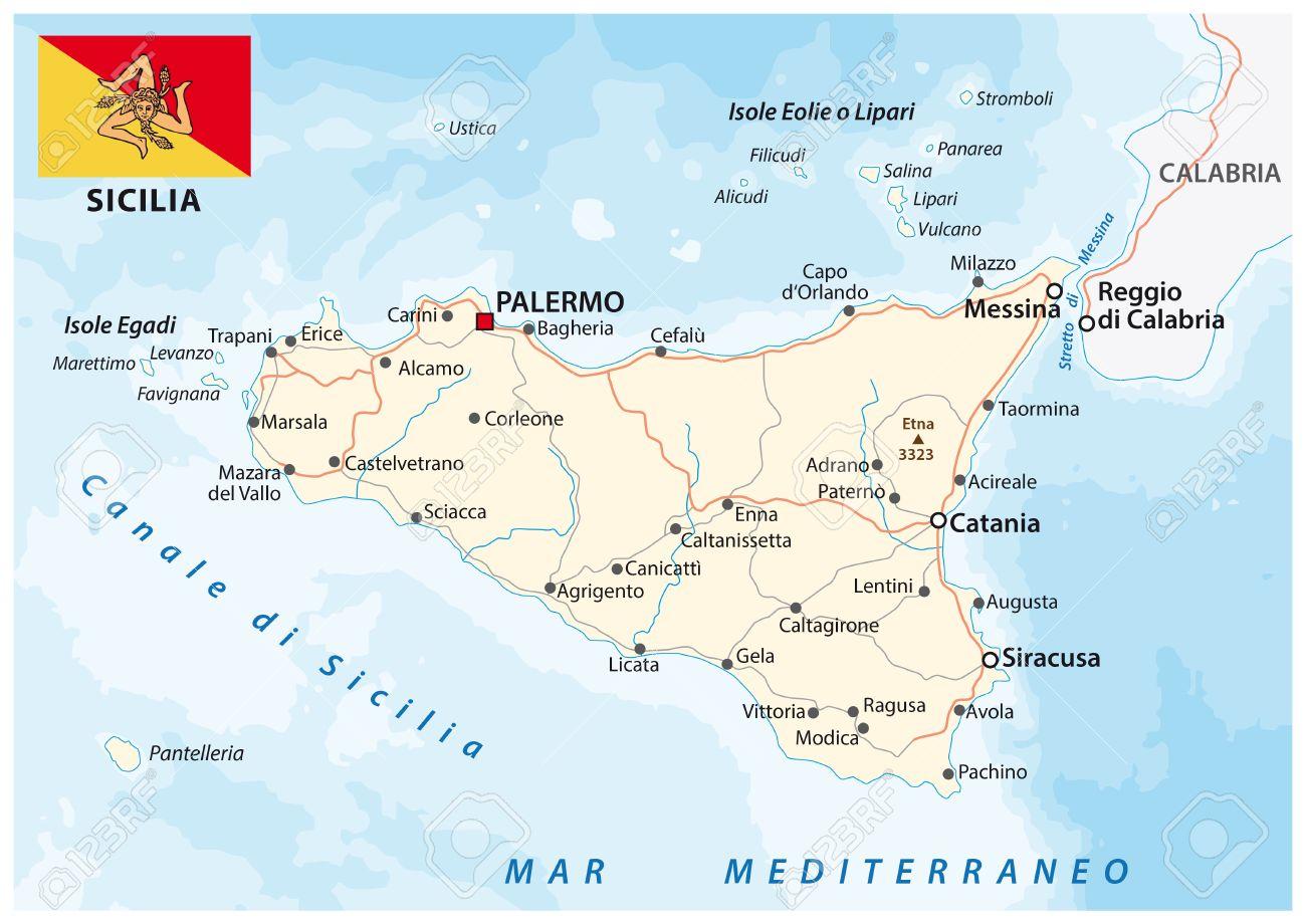 Carte Sicile.Carte Routiere De L Italien Mediterraneen Islande Sicile Drapeau
