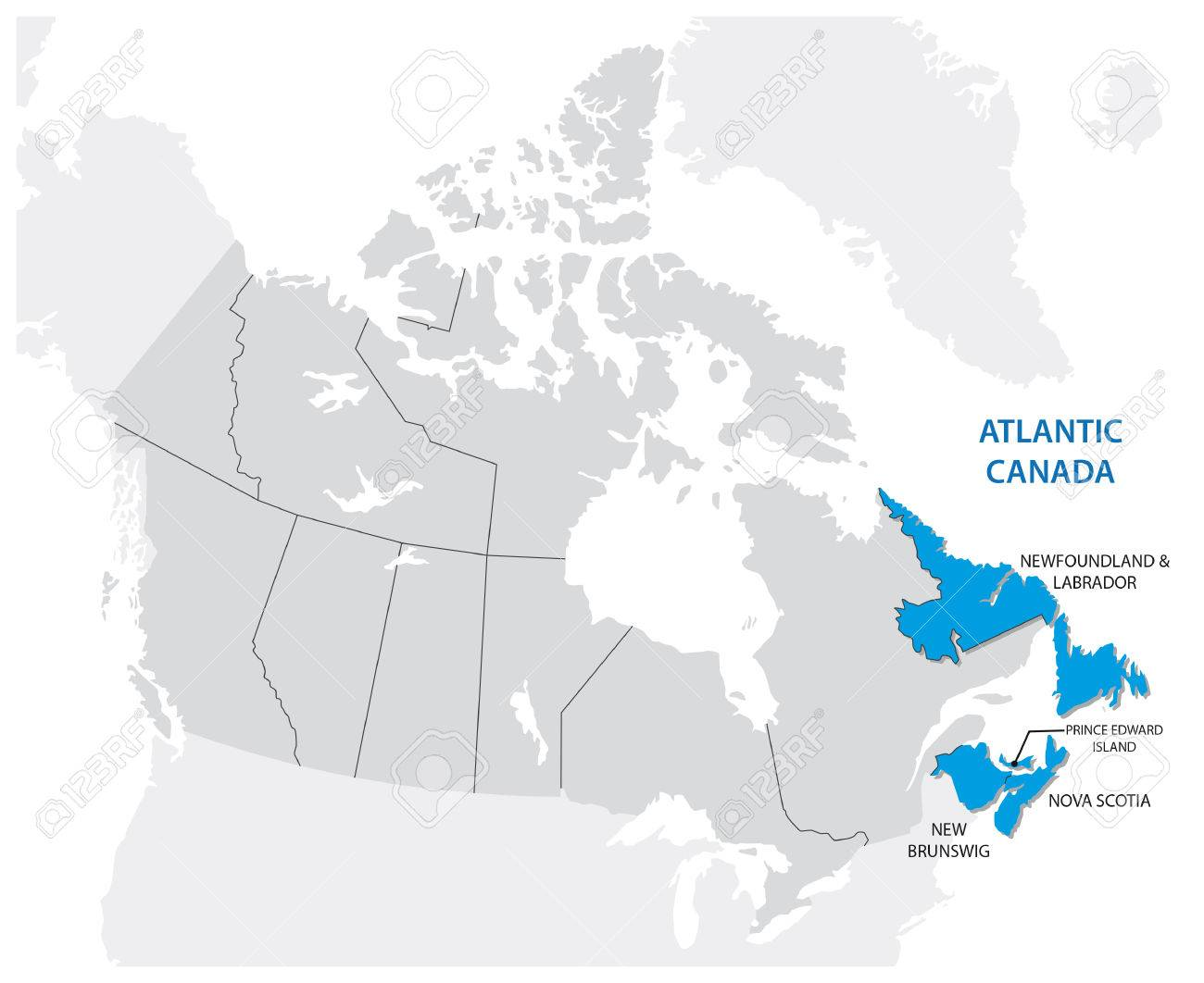 Survey Map Of The Four Canadian Atlantic States, Atlantic Canada