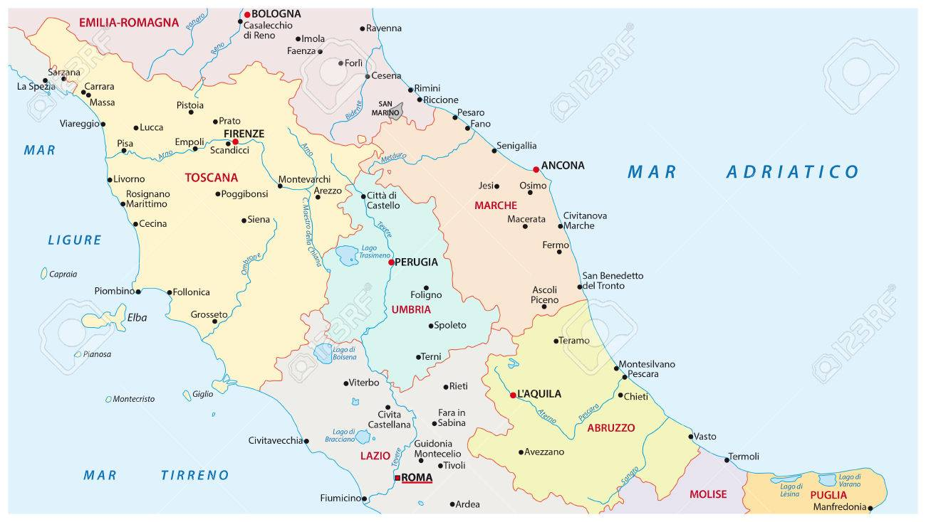 Map Of Central Italy Administrative And Political Map Of The Regions Of Central Italy